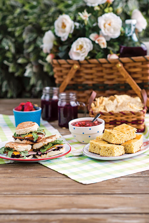 Ham Sandwich with Blueberry Jam (basket and tableware courtesy of Lehman's in Kidron, Ohio)