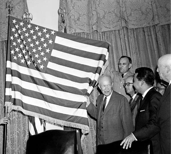Eisenhower unfurls the 50-star flag