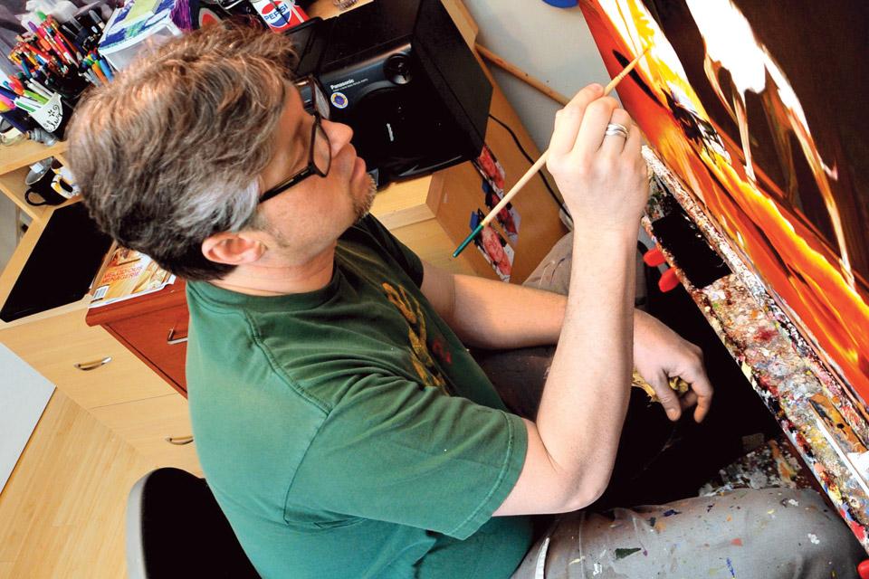 Artist Jason Morgan working