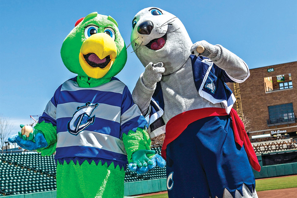 The Columbus Clippers' mascots