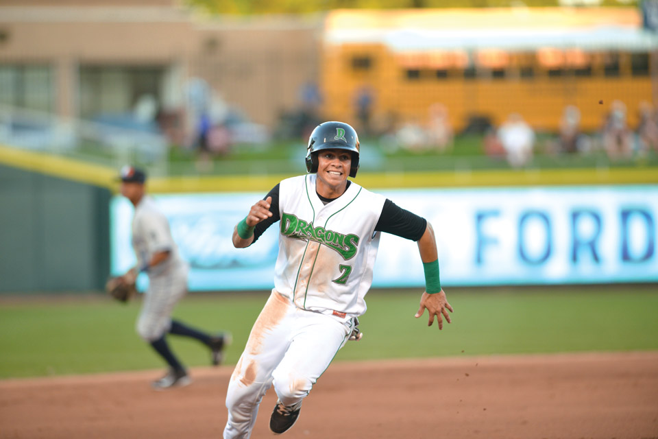 Dayton Dragons player running bases