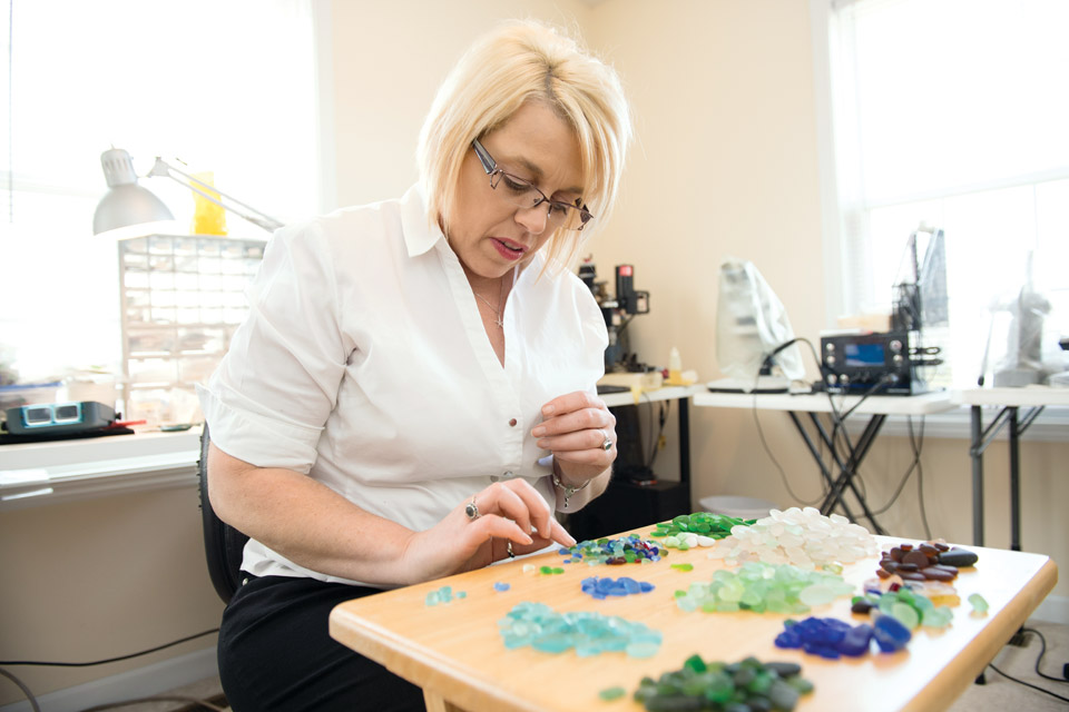 Lorie Dalrymple working in her studio
