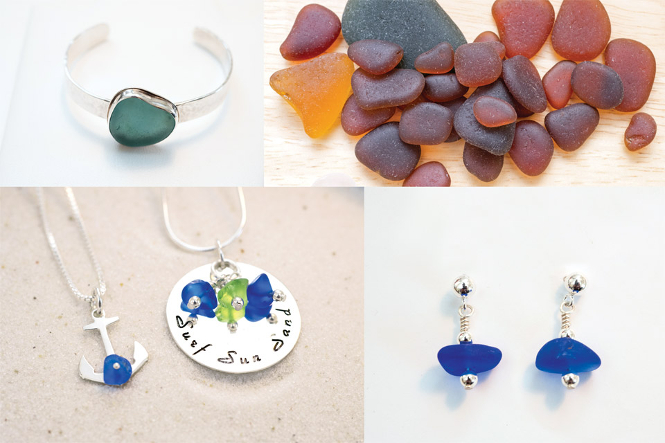 Close up of beach glass jewelry