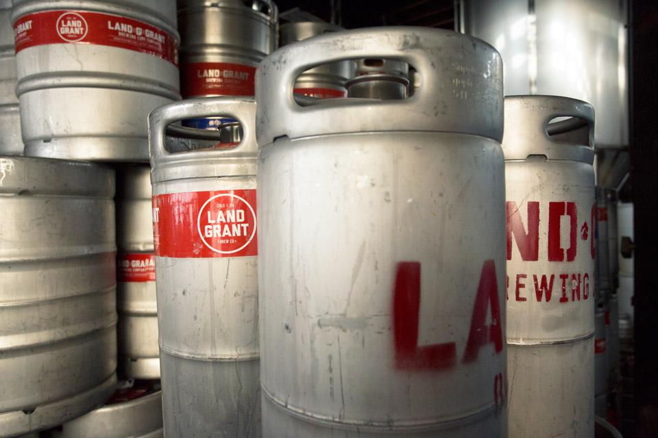 Land Grant Brewery kegs
