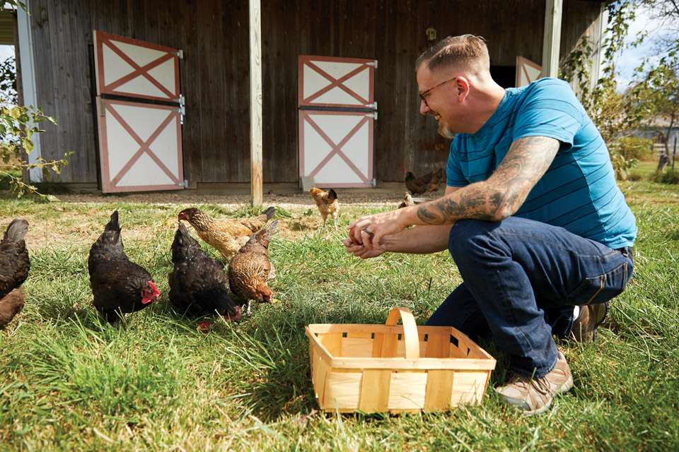 Dean Lowry with his chickens
