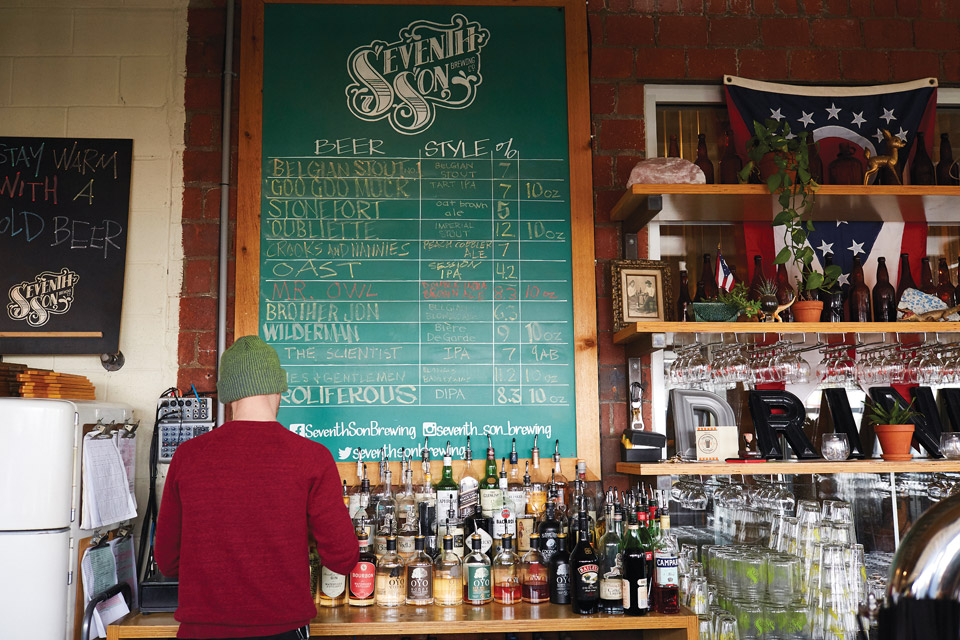 Seventh Son beer list behind bar