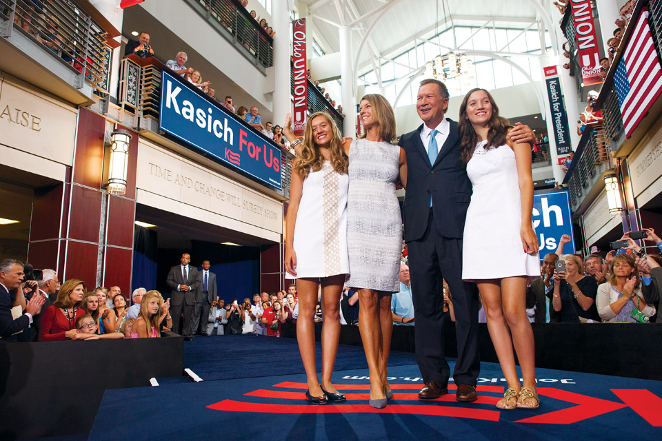 John Kasich and family at presidential bid announcement