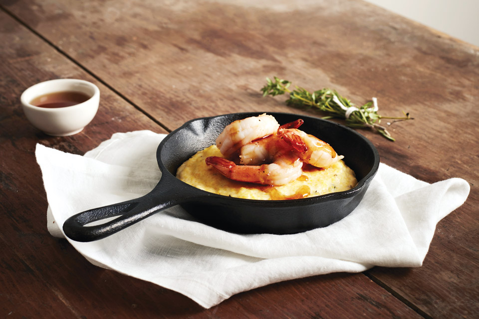 Shrimp and polenta with maple glaze