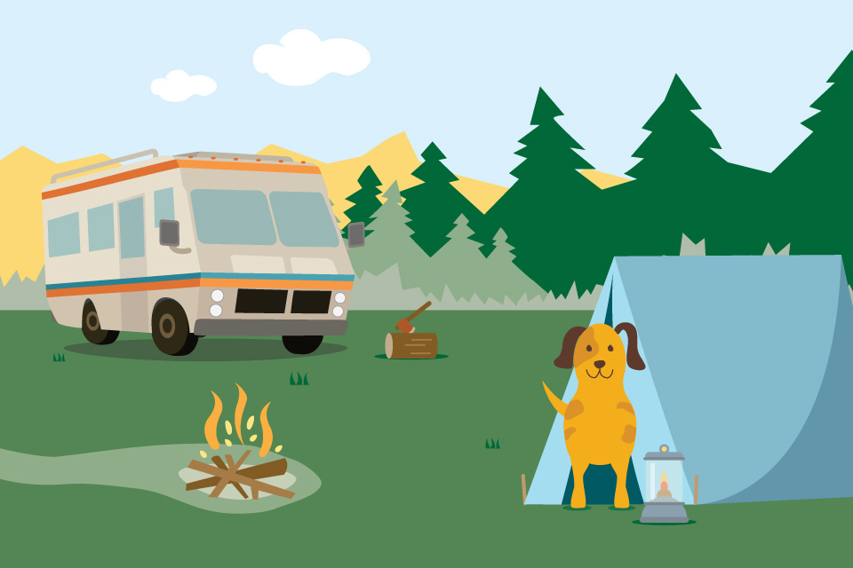 Camping-with-your-dog-illustration