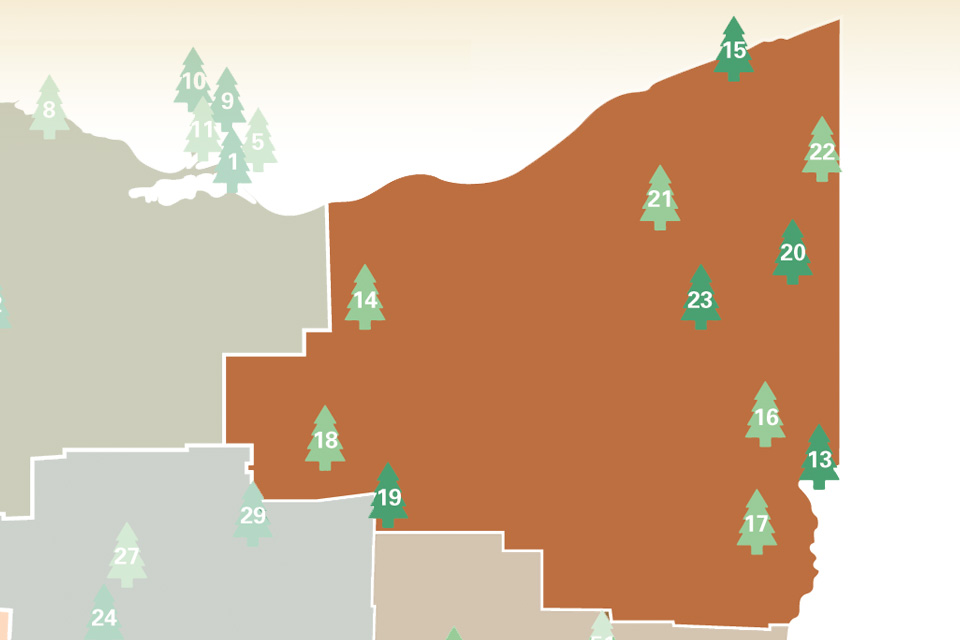 Northeast Ohio State Park Campground Map