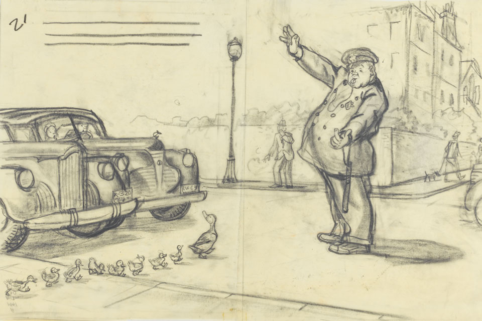 McCloskey's 'Make Way for Ducklings' sketch