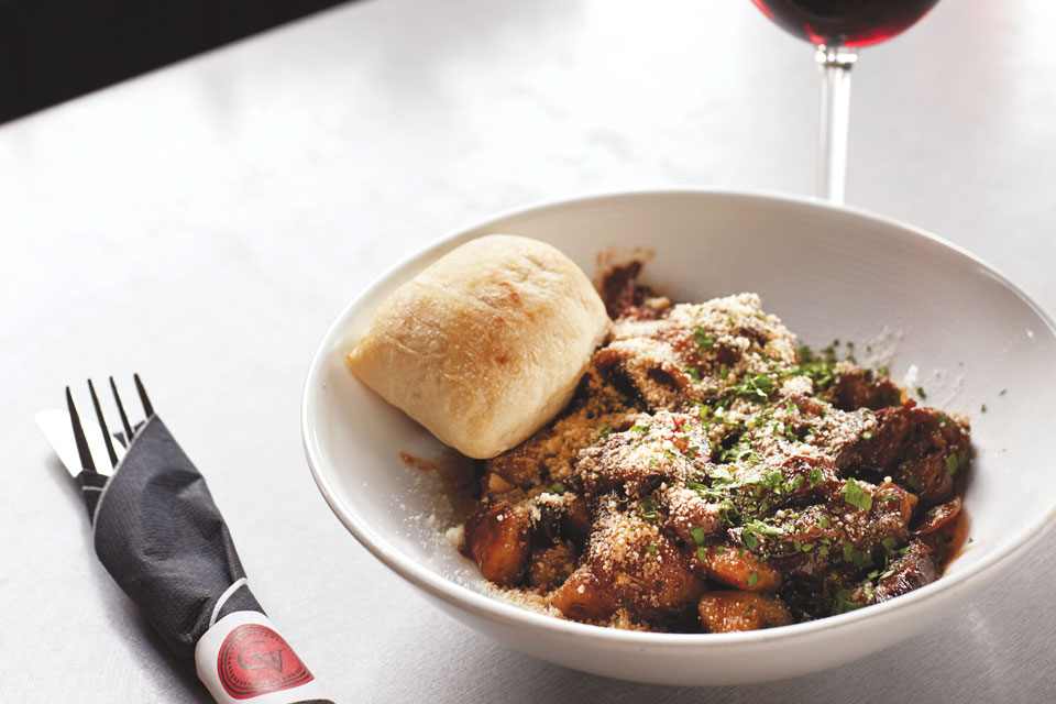 The Crush House at Gervasi Vineyard's gnocchi and beef short rib