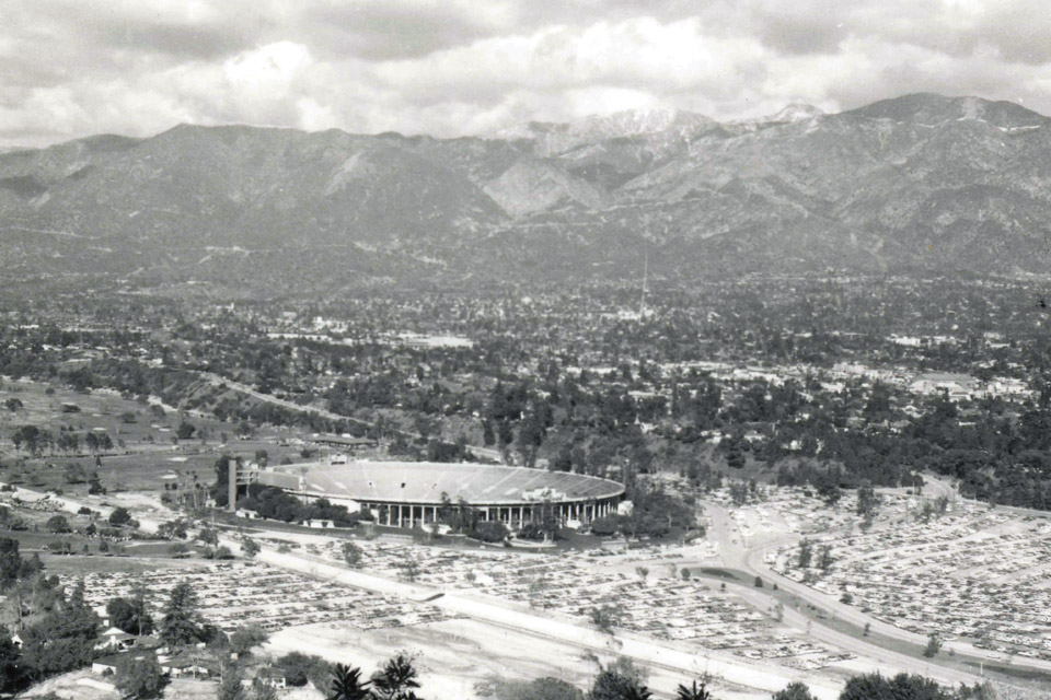aerial shot of Rose Bowl