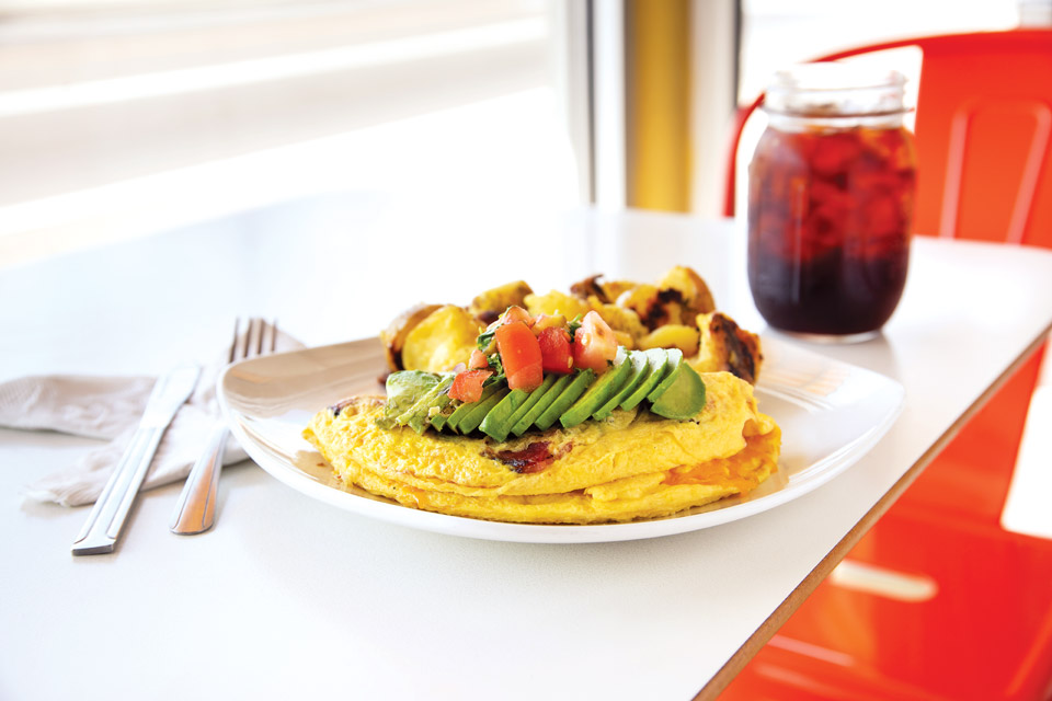 Tomato, Bacon, Avocado Omelet