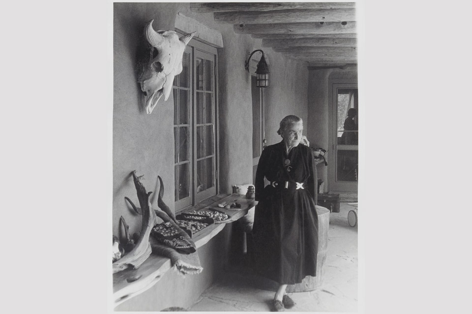 """Georgia O'Keeffe on Ghost Ranch Portal, New Mexico"""