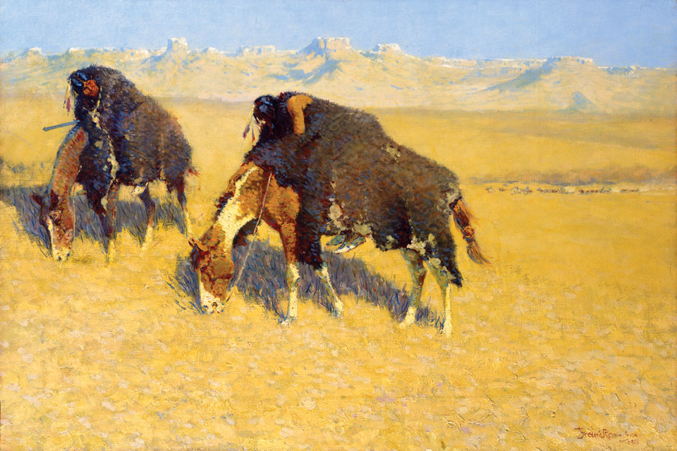 """Indians Simulating Buffalo"" by Frederic Remington"