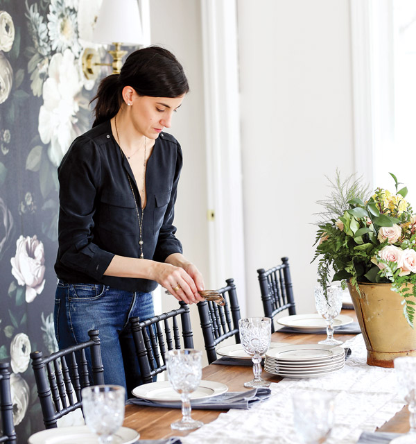 Setting the table at Flowers & Bread