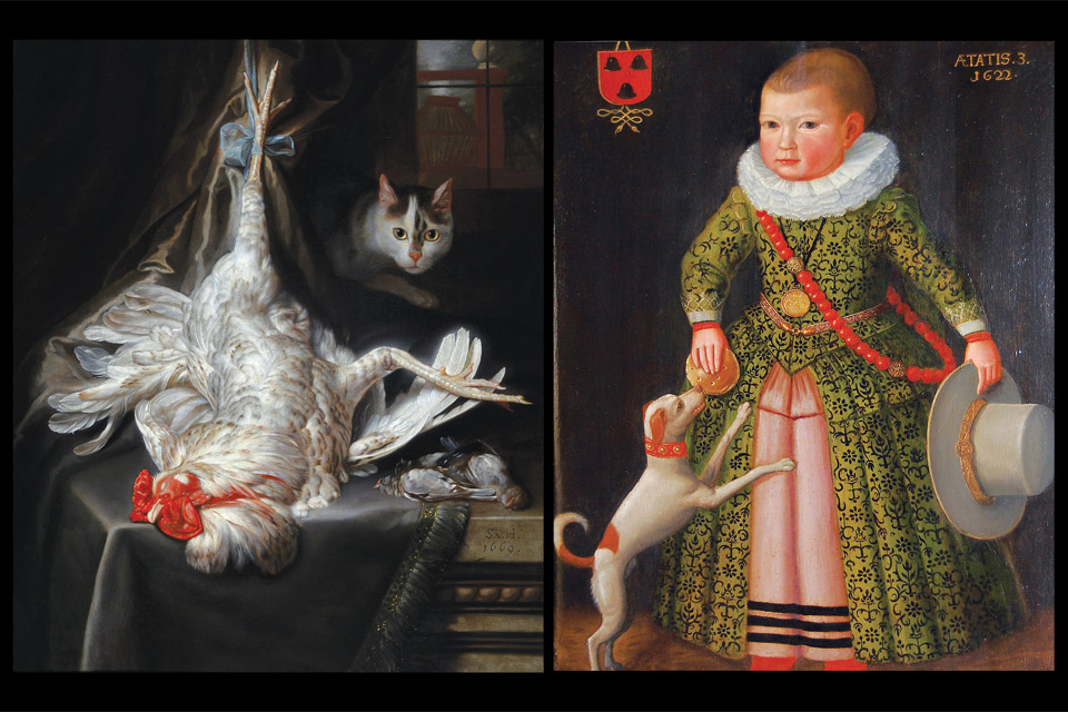 'Bird Still Life with Cat' and 'Portrait Rochus Rees as a three-year-old boy'