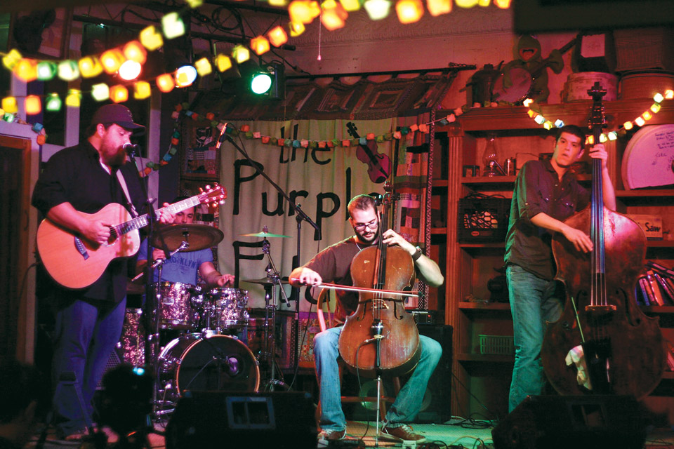 On stage at the Purple Fiddle