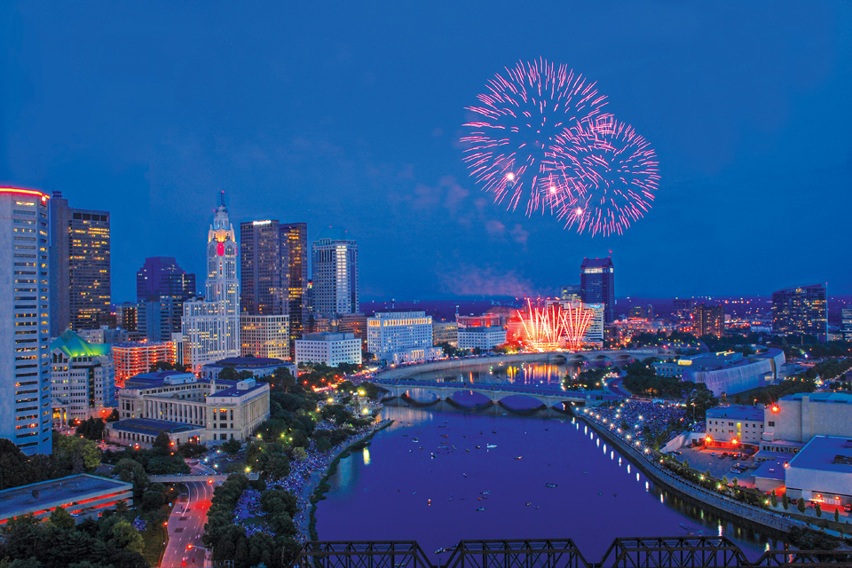 Large Columbus firework display