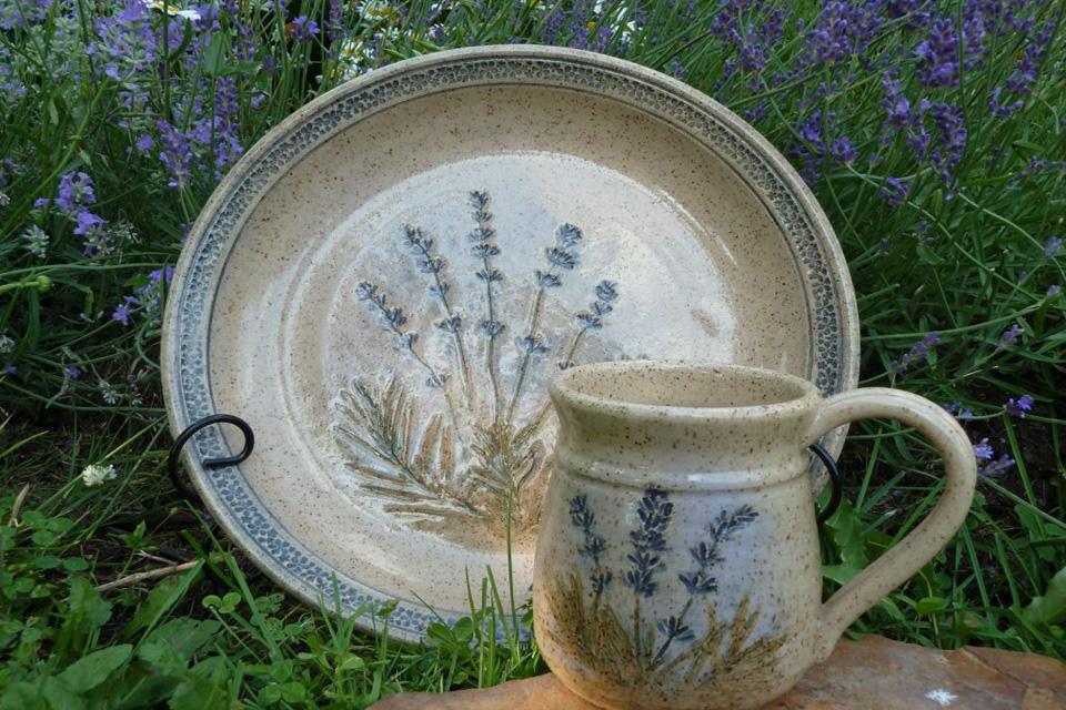 Lavender Imprinted Platter and Mug