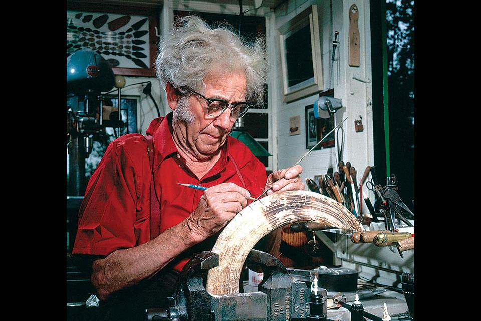 Ernest Warther working in his studio