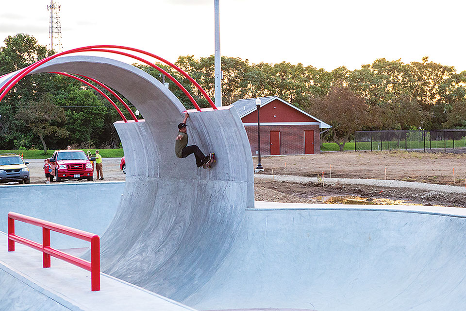 Newark Skatepark, Person Doing Skate Trick (photo by Garrett Martin)