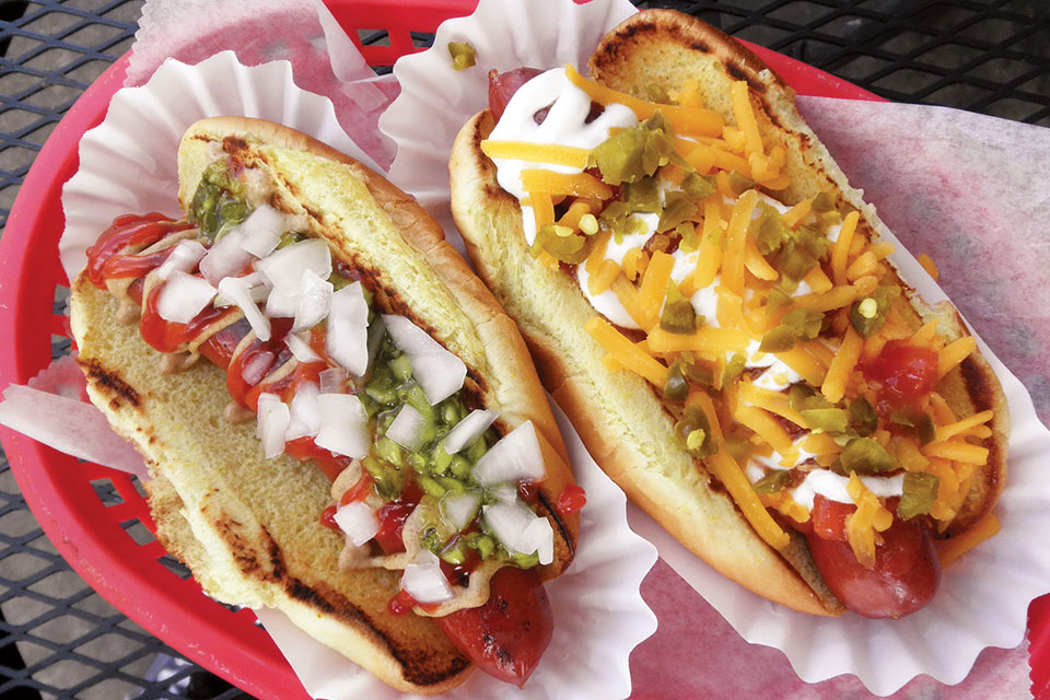 O'Betty's Red Hot Gypsy and Tempest hotdogs