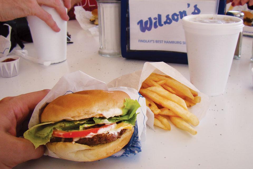 Wilson's Sandwich Shop hamburger and fries