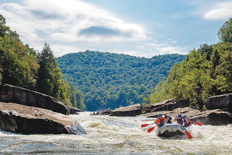 People whitewater rafting on the Upper Gauley River (photo courtesy of West Virginia Tourism Office)