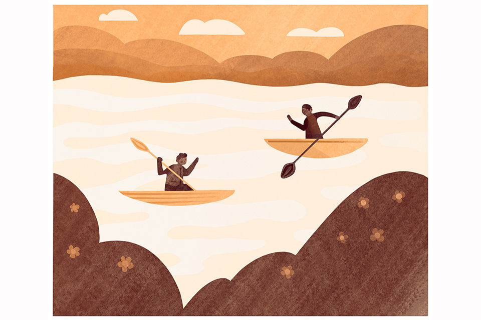Kayak on Portage Lakes (illustration by Diana Bolton)