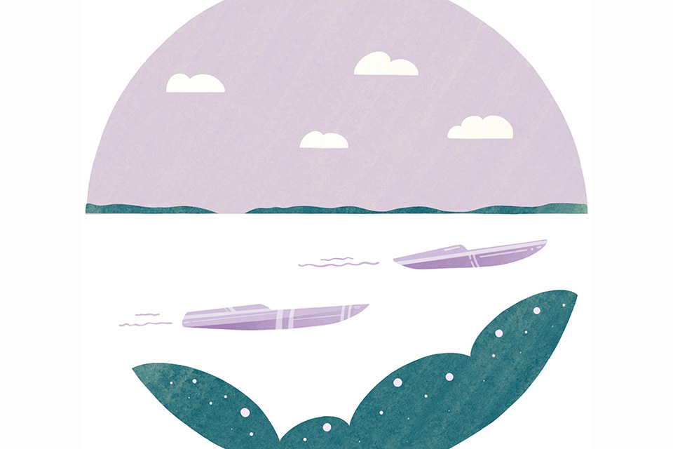 Power Boats On Lake Erie (illustration by Diana Bolton)