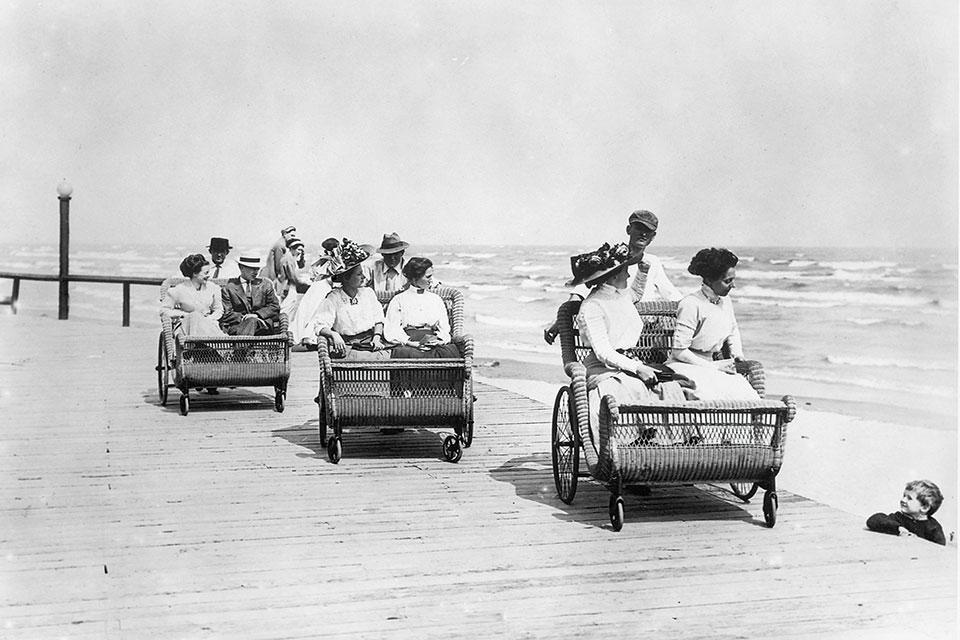 Roller cars on Cedar Point boardwalk