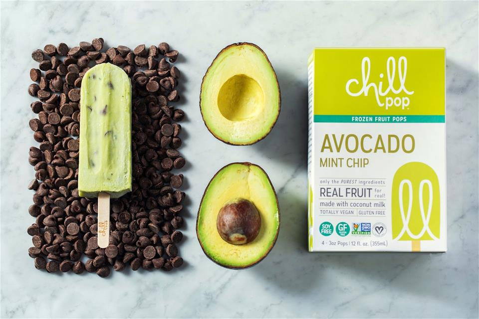 Avocado mint chip popsicles (photo courtesy of Chill Pop)