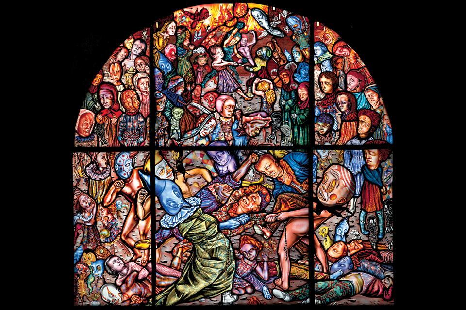 "Judith Schaechter's ""The Battle of Carnival and Lent"" (artwork courtesy of the Memorial Art Gallery of the University of Rochester, New York)"