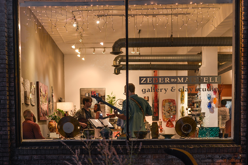Band playing at Zeber Martell Gallery & Clay Studio (photo courtesy of Downtown Akron Partnership)