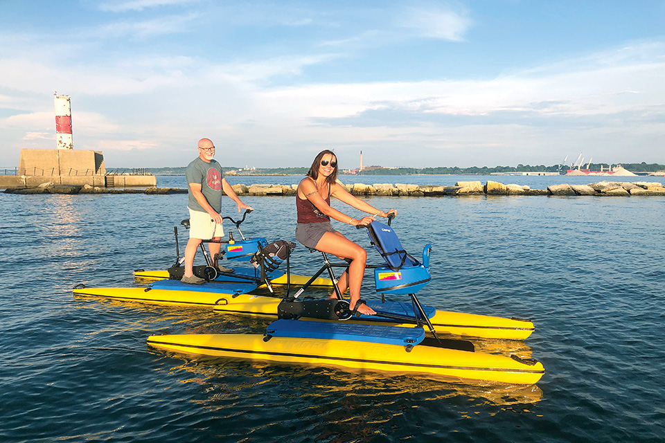 People on water bikes (photo courtesy of Harbor Yak)