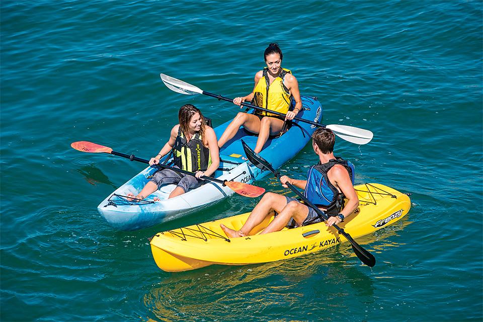 Three people in kayak rentals (photo courtesy of Kelleys Island Kayak Rentals)