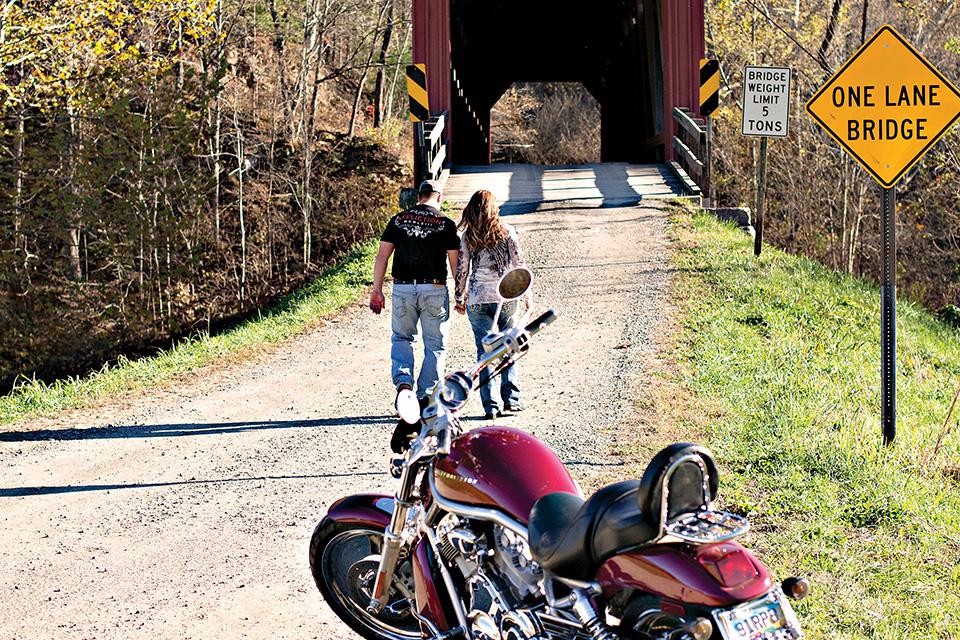 Motorcyclists at Washington County Covered Bridge (photo courtesy of Marietta-Washington County Convention & Visitors Bureau)