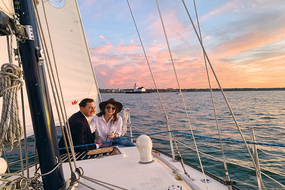 Couple sailing in Cleveland (photo courtesy of Cleveland Sailing Charters)