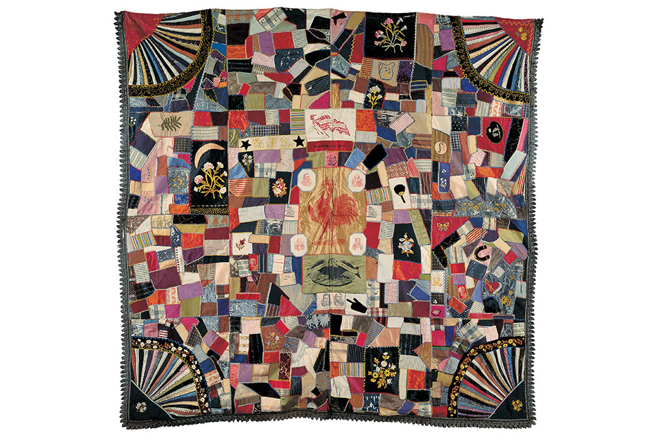 """Cleveland-Hendricks Crazy Quilt"" by unidentified quilt-maker (artwork courtesy of The American Folk Museum)"