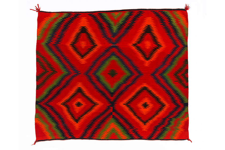 "Navajo Nation ""Eyedazzler Rug"" (artwork courtesy of the Crane American Indian Collection of the Denver Museum of Nature and Science)"