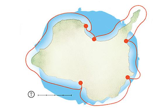 Kelley's Island kayak trail (illustration by Rachael Jirousek)
