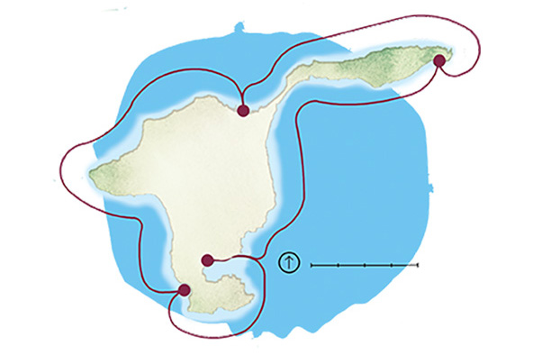 Middle Bass Island kayak trail (illustration by Rachael Jirousek)