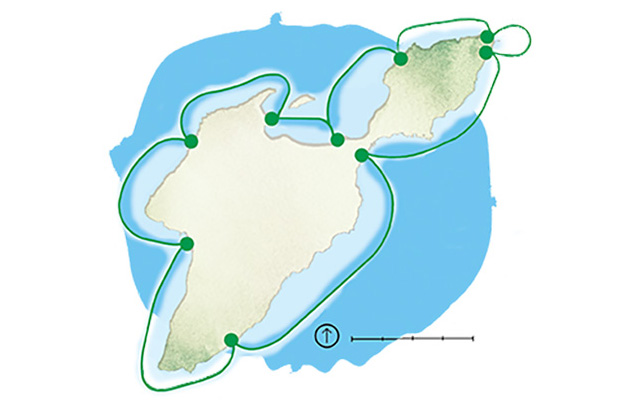 South Bass Island kayak trail (illustration by Rachael Jirousek)