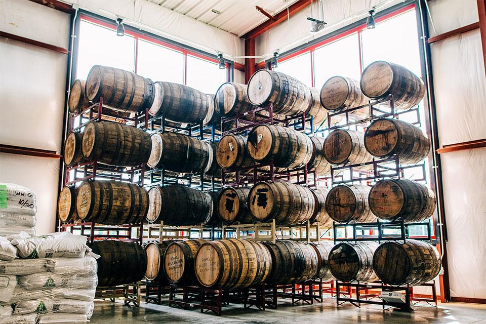 Barrel-aging facility at Warped Wing Barrel Room & Smokery