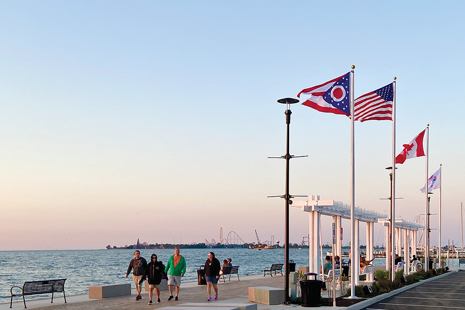 People walking at Jackson Street Pier (photo by Tom Horsman)