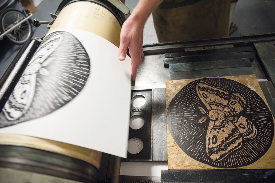 Justajar Design Press making a butterfly print (photo by Michelle Waters)