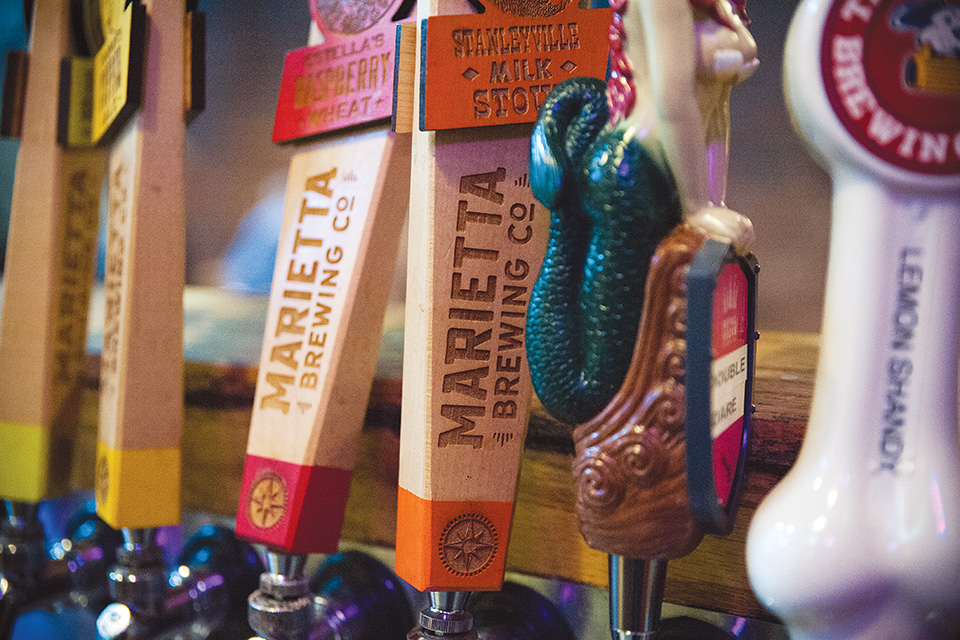 Marietta Brewing Co. taps (photo by Michelle Waters)