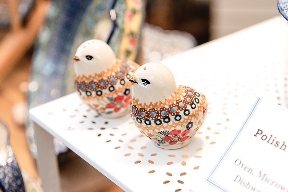 Polish Pottery bird salt-shakers (photo by Rachael Jirousek)